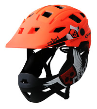 Rebel Kids Full Face Downhill MTB Bike Youth Helmet Visor Orange/Black 55-58cm