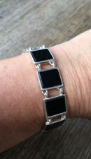 Vintage 1980s, Heavy, Solid Sterling Silver & Natural Black Onyx Bracelet Chain.