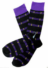 Striped Mens Dress Cotton Socks Black With Purple Stripe Casual Fashion Sock New