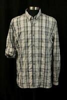 EDDIE BAUER Gray Plaid Roll-Tab Button-Up Shirt Mens Outdoor Fishing Hiking XL
