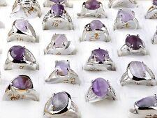 Wholesale lots 5pcs handmade Amethyst stone gemstone silver plated rings jewelry