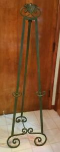 """Vintage Ornate Wrought Iron Display Stand Metal Tripod Easel 62"""" White or Green"""