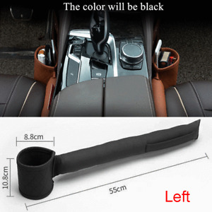 Black PU Leather Car Seat Gap Filler Leakproof Soft Pad Phone Card Storage Left