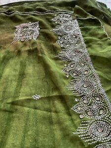 Ladies Green Sari Mixed Colours