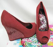 ED HARDY VERA HEEL Platform Shoes 7 4.5 38 23 Women Lady Holiday Gift