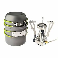 Ultralight Portable Outdoor Camping Propane Canister Stove, Pot and Pan Set