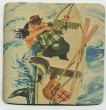 Romantic Fishing  - Beverage COASTER - Mermaid vintage Fishing Art