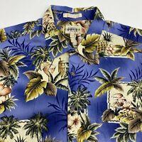 Campia Moda Button Up Shirt Men's Size 2XL XXL Short Sleeve Blue Floral Hawaiian