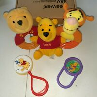 Vintage First Years Disney Winnie The Pooh Rattles Teether LOT OF 5 Collectables
