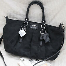 NWT COACH MADISON Juliette Black OP Signature Crossbody Tote Shoulder BAG PURSE