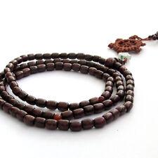 Wood Tibet Buddhist 108 Prayer Beads Mala Necklace