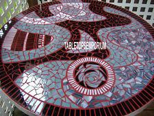 "60"" Hallway Marble Center Table Inlay Rare Mosaic Art Work Christmas Decorative"