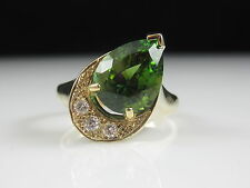 14K Forest Green Tourmaline Diamond Ring Yellow Gold Fine Jewelry Estate Pear