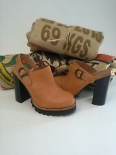Jeffrey Campbell Leather Mules Clogs Carmel Brown Size 7
