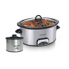 Crock Pot 6 Quart Stainless Steel Programmable Slow Cooker with Little Dipper