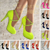 Ladies Cross ankle strap Stiletto Shoes Womens Platform High Heels Pumps Size
