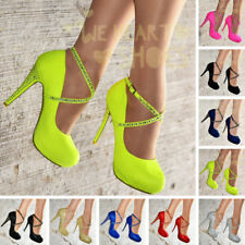 Ladies Cross ankle strap Stiletto Shoes Womens Platform High Heels Pumps Size