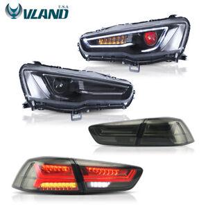 VLAND Fits For Mitsubishi Lancer / EVO X LED Black Headlights+Tail Lights Smoked