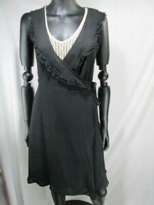 Jenny Han Women's Silk Ruffle Neck Long Sleeveless Tie Wrap Dress, Size S