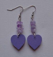Purple Heart Earrings Wood & Amethyst Gemstone Hippie Boho Lilac Bohemian Hippy
