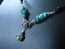 semi precious gemstone BLUE TOURMALINE INDICOLITE 925 sterling silver & leather