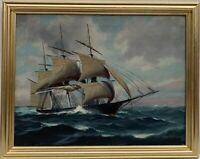 Antique T. BAILEY Original Large Oil Painting on canvas Ship on the Ocean Framed