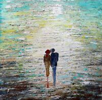 Original Abstract Square Painting Couple Holding Hands Walking OUR Morning WALKS