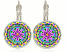 Silver Plated Glass Floral  Cabochon Lever Back Earrings  #SP102