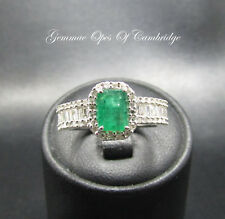 14ct Gold 14K Gold Emerald and Diamond Ring Size N 4.5g 1.34ct of Diamonds