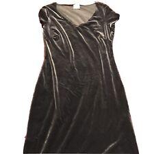 Next Ladies Grey Velour Velvet Long Dress Size 10 New
