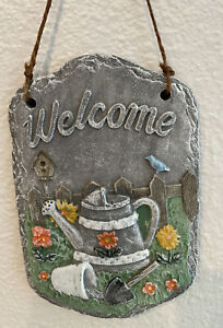 Painted Rock Hanging Welcome Sign