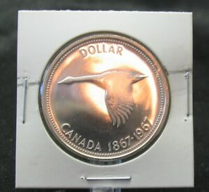 Rotated Die !!!  1967 Canada One Dollar Coin  -  Mint State MS 62/63