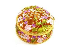 Purple Rhinestone & Metal Flower Filigree Jewelry Trinket Box ~ Gift Idea!