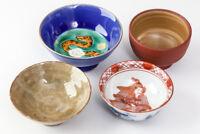 Japanese Sake Cup GUINOMI Pottery Various 4 Cups KUTANI #23095