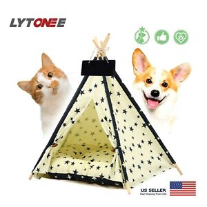 Large Size Dog Cat Tent Pet Beds Accessories Teepee Wooden Pet Tents Pet House