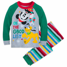 Disney Mickey Mouse & Pluto Holiday Pajamas  Boys PJ Set Kids Size 2 3 8 10