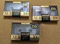 NEW lot of 3 Maxell XL II 100 Blank Cassette Tapes Sealed IECType II High (CrO2)