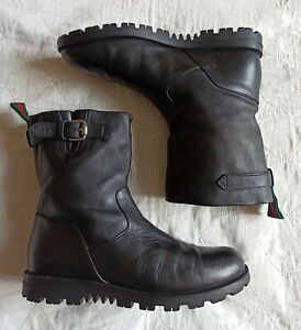 Gucci Womens Black Leather Meguro Ankle Boots Size 37.5 G