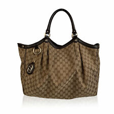 Authentic Gucci Brown Monogram Canvas Monogram Large Sukey Tote Bag
