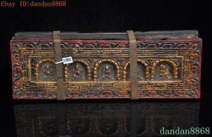 Old Tibetan Buddhism Wood Rice paper Buddha Buddhist Scripture Exorcism Book