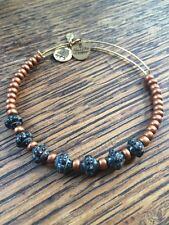RARE ALEX and ANI VINTAGE Orange Copper Black Gray Beaded BANGLE Bracelet