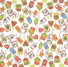 2 serviettes en papier Etiquettes cadeau Noël Decoupage Paper Napkins Gift Tags