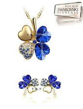 Parure set COLLANA ORECCHINI clover DONNA BLU oro Crystal SWAROVSKI.B33/5