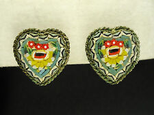 "Antique Italian Micro Mosaic Heart Shaped Earrings ~ 0.75"""
