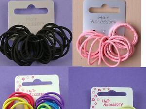 New Packs of 12,16, Small Mini Hairband Elastics Black, Pink, Blonde, Pastel