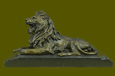 Angry Roaring Lion Signed Barye Hot Cast Bronze Marble Sculpture Statue Figurine