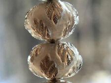 13mm. Natural Smoky Quartz Frosted Carved Fancy Leaf Rondelle Gemstone Bead