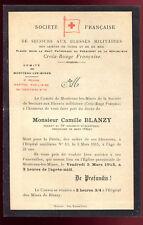 faire-part de décès Mr. Camille Blanzy mort pour la France . 1915
