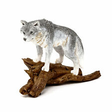 Miniature Dollhouse FAIRY GARDEN - Wolf Standing On Tree Log - Accessories