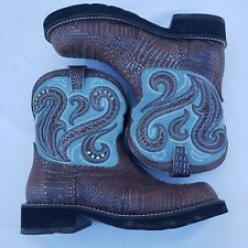 ARIAT Women's Cowgirl Boots Size 9.5 B #16765 Blue Brown Bling Rhinestones